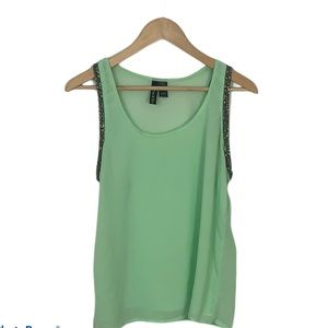 Fun & Flirt Lime Green Sheer Tank Top Women's Sz L